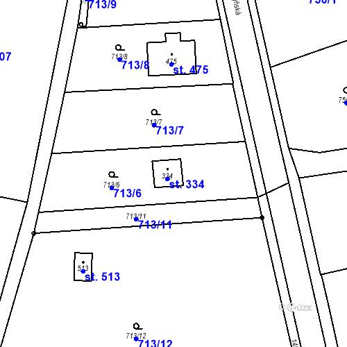 Katastrální mapa Parcela 334 na katastrálním území Bernartice u Milevska