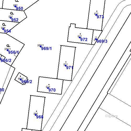 Katastrální mapa Parcela 971 na katastrálním území České Budějovice 7