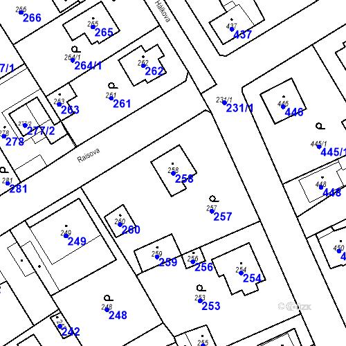 Katastrální mapa Parcela 258 na katastrálním území Dobřichovice