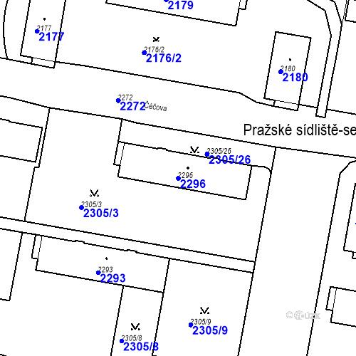 Katastrální mapa Parcela 2296 na katastrálním území České Budějovice 3