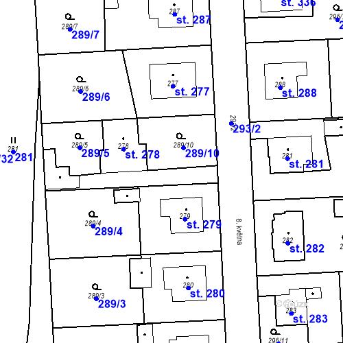 Katastrální mapa Parcela 278 na katastrálním území Bernartice u Milevska