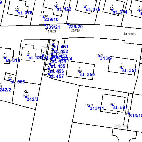 Katastrální mapa Parcela 350 na katastrálním území Bernartice u Milevska