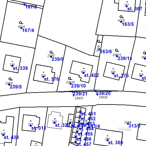 Katastrální mapa Parcela 422 na katastrálním území Bernartice u Milevska