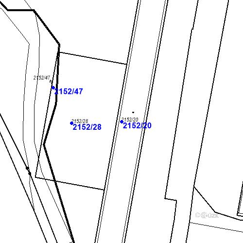 Katastrální mapa Parcela 2152/20 na katastrálním území České Budějovice 3