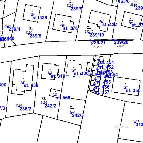 Katastrální mapa Parcela 320 na katastrálním území Bernartice u Milevska