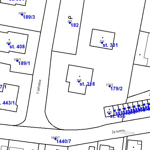 Katastrální mapa Parcela 318 na katastrálním území Bernartice u Milevska