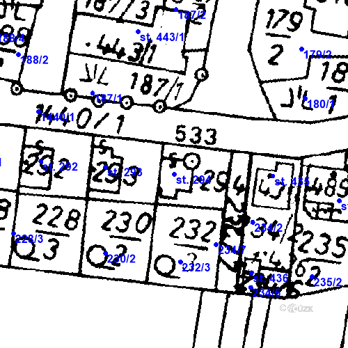 Katastrální mapa Parcela 294 na katastrálním území Bernartice u Milevska
