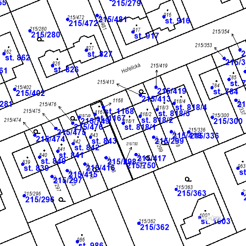 Katastrální mapa Parcela 818/1 na katastrálním území Hořelice