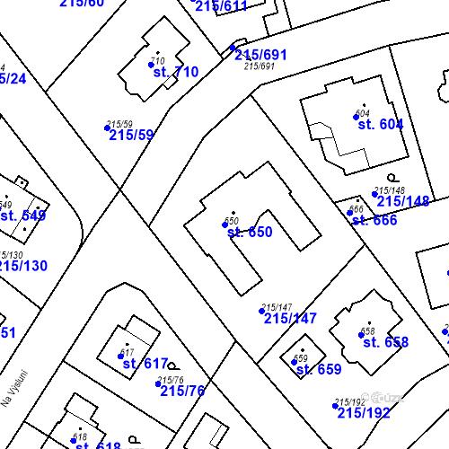 Katastrální mapa Parcela 650 na katastrálním území Hořelice