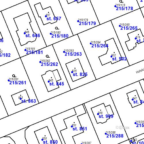 Katastrální mapa Parcela 825 na katastrálním území Hořelice