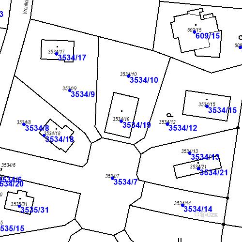 Katastrální mapa Parcela 3534/19 na katastrálním území Řevnice