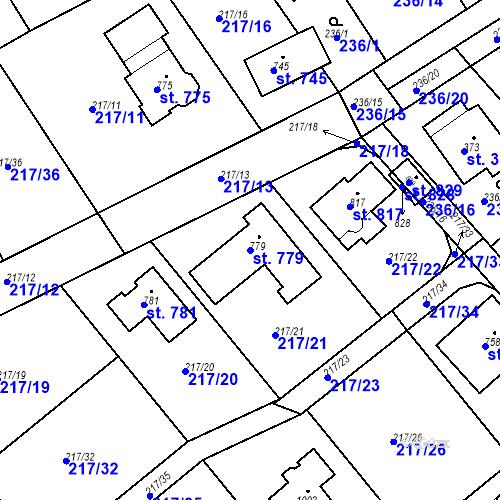 Katastrální mapa Parcela 779 na katastrálním území Hořelice