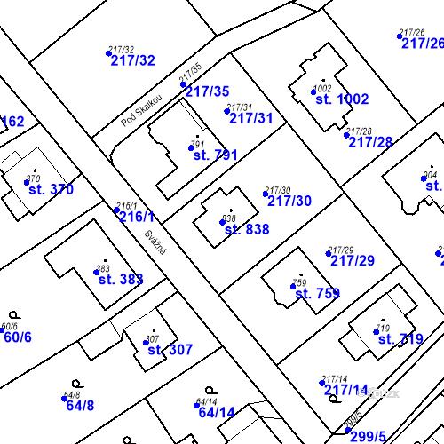 Katastrální mapa Parcela 838 na katastrálním území Hořelice