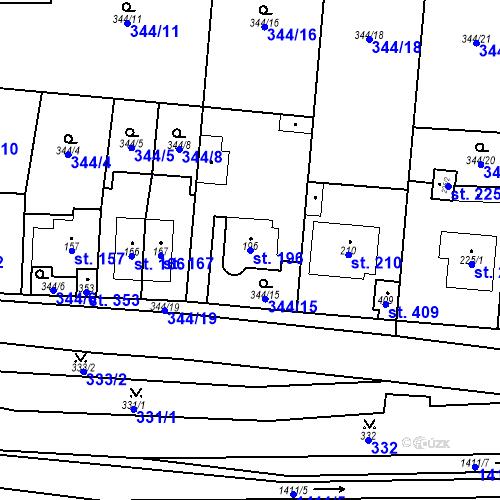 Katastrální mapa Parcela 196 na katastrálním území Mšené-lázně