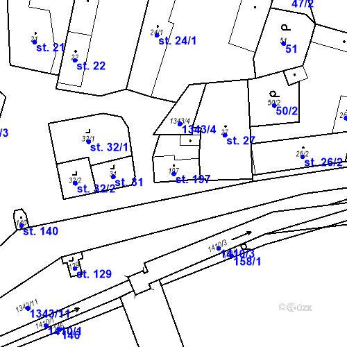 Katastrální mapa Parcela 197 na katastrálním území Mšené-lázně