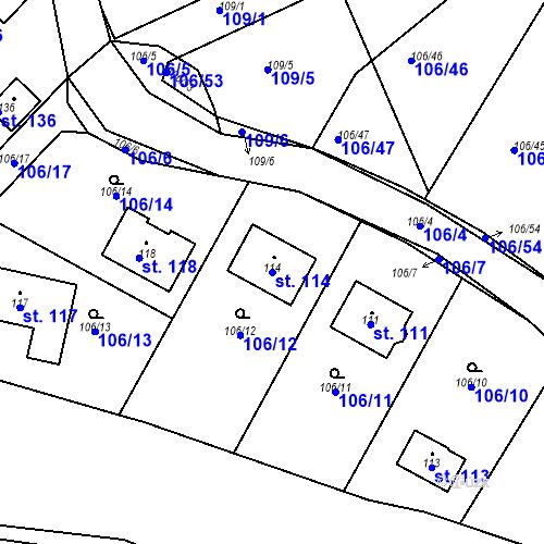 Katastrální mapa Parcela 114 na katastrálním území Drhovy