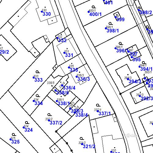 Katastrální mapa Parcela 336/3 na katastrálním území Skorotice u Ústí nad Labem