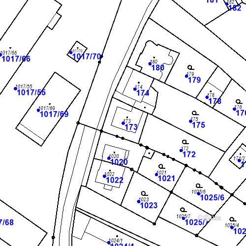 Katastrální mapa Parcela 173 na katastrálním území Skorotice u Ústí nad Labem