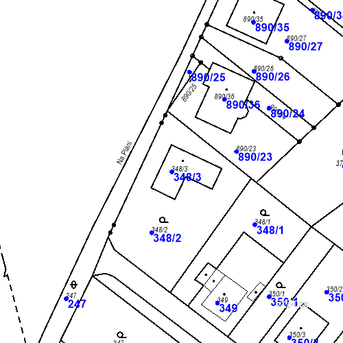 Katastrální mapa Parcela 348/3 na katastrálním území Skorotice u Ústí nad Labem