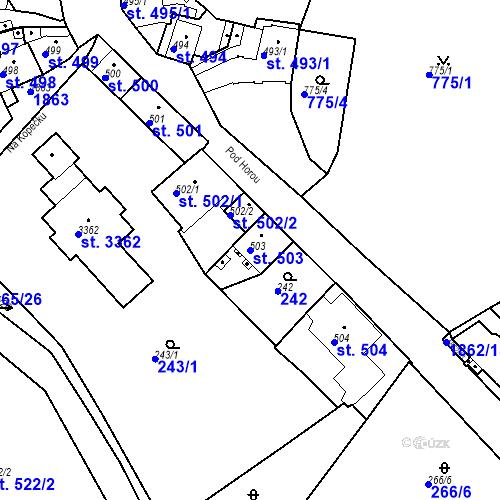 Katastrální mapa Parcela 503 na katastrálním území Slaný