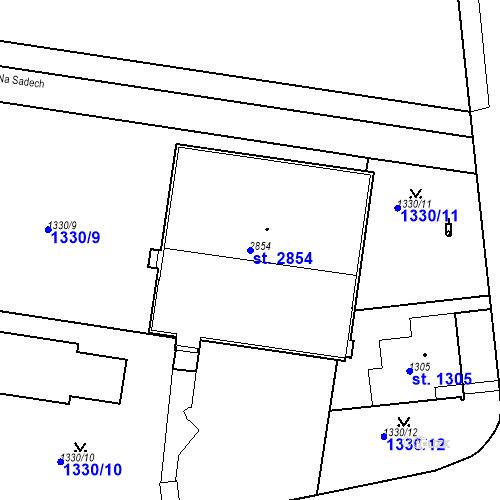 Katastrální mapa Parcela 2854 na katastrálním území Slaný
