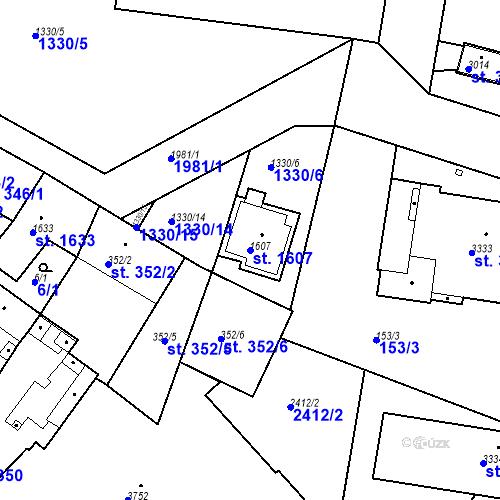 Katastrální mapa Parcela 1607 na katastrálním území Slaný