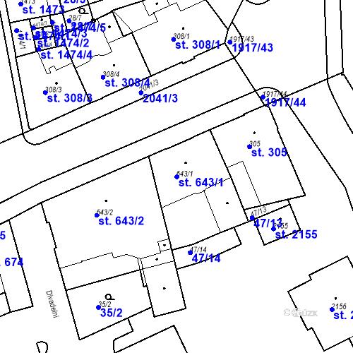 Katastrální mapa Parcela 643/1 na katastrálním území Slaný