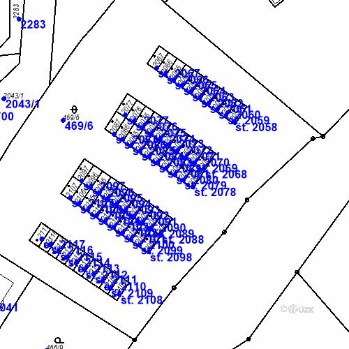 Katastrální mapa Parcela 2080 na katastrálním území Slaný