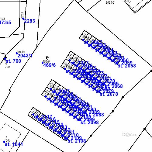 Katastrální mapa Parcela 2084 na katastrálním území Slaný