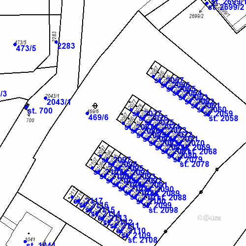 Katastrální mapa Parcela 2087 na katastrálním území Slaný
