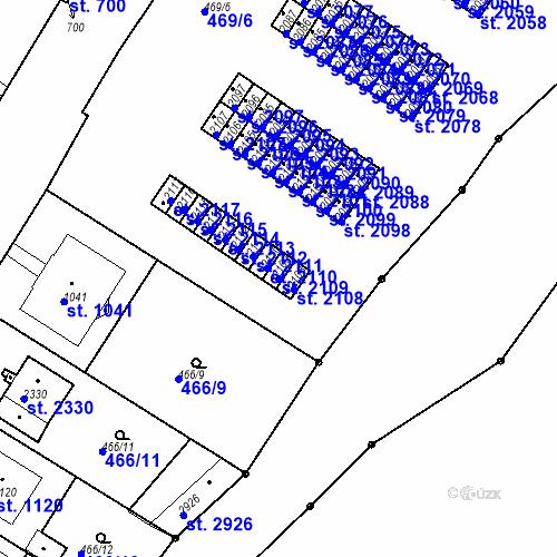 Katastrální mapa Parcela 2109 na katastrálním území Slaný