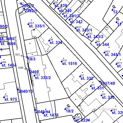 Katastrální mapa Parcela 1516 na katastrálním území Slaný