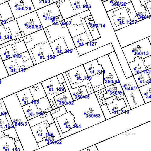 Katastrální mapa Parcela 169 na katastrálním území Kvíc