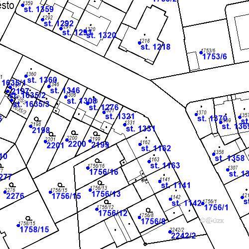 Katastrální mapa Parcela 1331 na katastrálním území Slaný