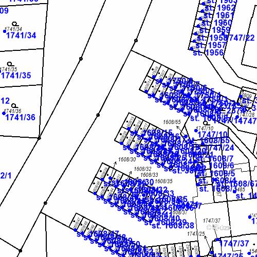 Katastrální mapa Parcela 1608/15 na katastrálním území Slaný
