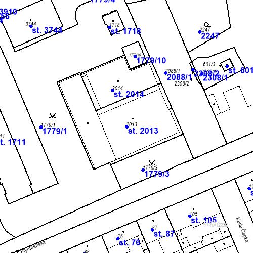Katastrální mapa Parcela 2013 na katastrálním území Slaný