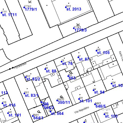 Katastrální mapa Parcela 76 na katastrálním území Kvíc
