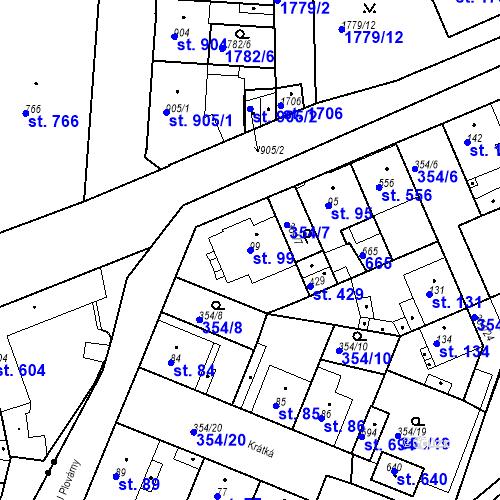 Katastrální mapa Parcela 99 na katastrálním území Kvíc