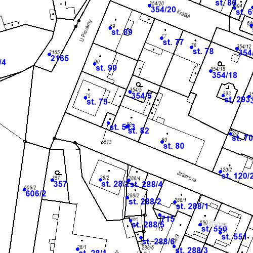 Katastrální mapa Parcela 82 na katastrálním území Kvíc