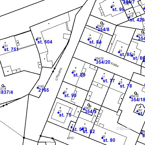 Katastrální mapa Parcela 89 na katastrálním území Kvíc