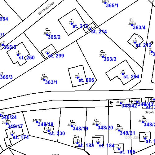 Katastrální mapa Parcela 206 na katastrálním území Srbsko u Karlštejna