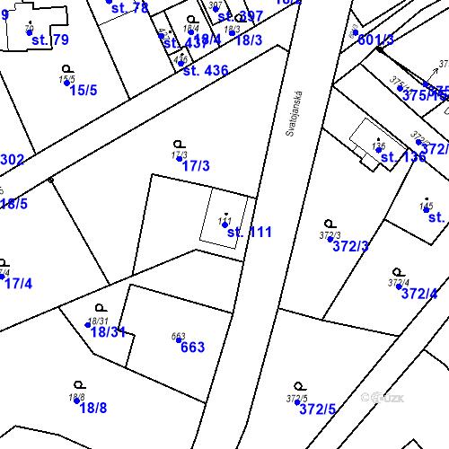 Katastrální mapa Parcela 111 na katastrálním území Srbsko u Karlštejna
