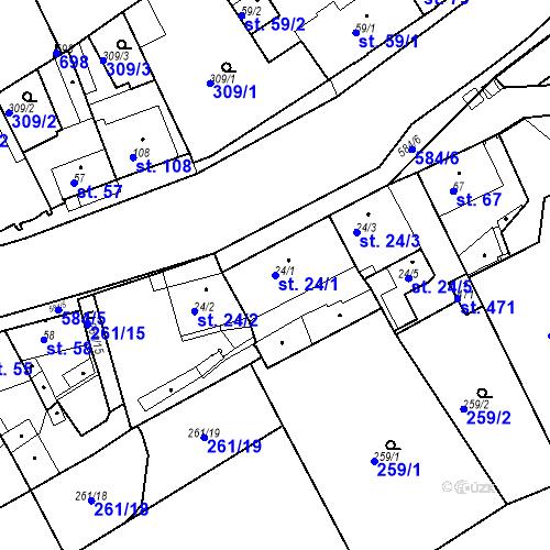 Katastrální mapa Parcela 24/1 na katastrálním území Kvíc