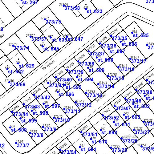 Katastrální mapa Parcela 594 na katastrálním území Kvíc