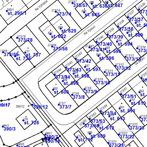 Katastrální mapa Parcela 598 na katastrálním území Kvíc