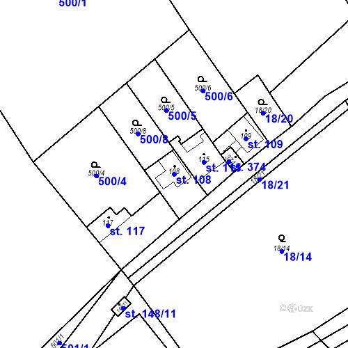 Katastrální mapa Parcela 108 na katastrálním území Srbsko u Karlštejna