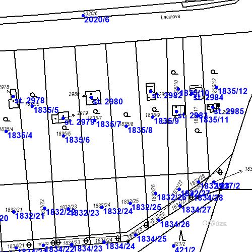 Katastrální mapa Parcela 1835/8 na katastrálním území Slaný