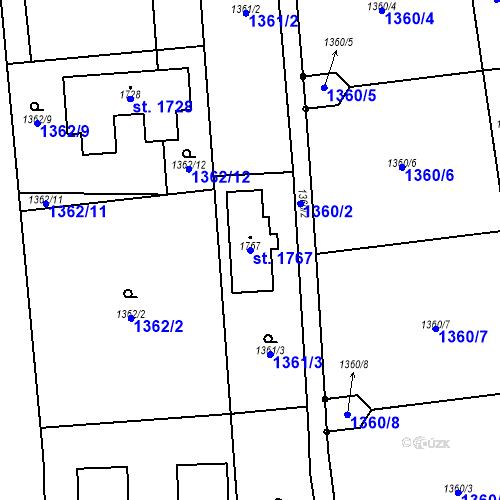 Katastrální mapa Parcela 1767 na katastrálním území Chyňava