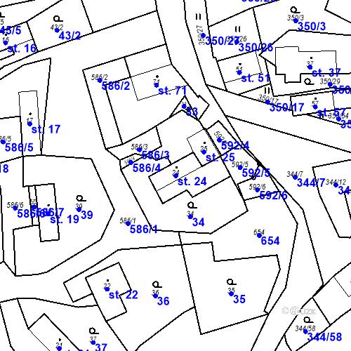Katastrální mapa Parcela 24 na katastrálním území Srbsko u Karlštejna