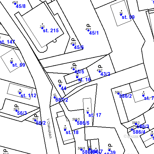 Katastrální mapa Parcela 16 na katastrálním území Srbsko u Karlštejna